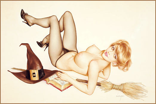 Alberto Vargas original watercolor on board painting depicting a female seminude in a Halloween costume