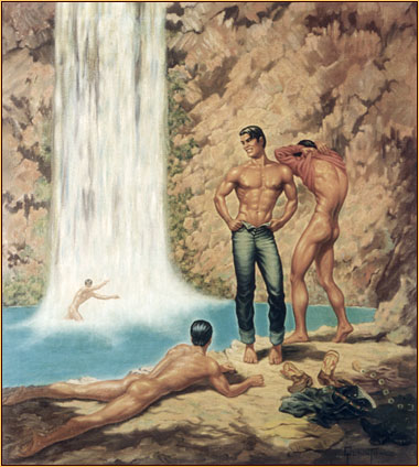 George Quaintance original oil painting depicting three male nudes and one seminude at a waterfall