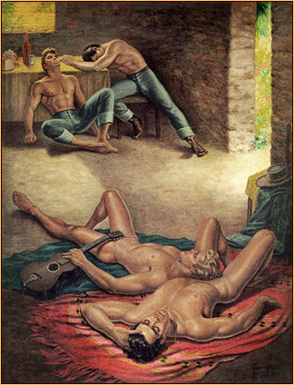 George Quaintance original oil painting depicting two male nudes and two seminudes sleeping