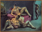 George Quaintance original oil painting depicting three male nudes relaxing and a watchman