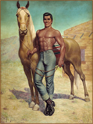 George Quaintance original oil painting depicting a male seminude posing with a horse
