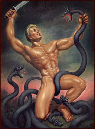 George Quaintance original oil painting depicting a male nude fighting the Hydra