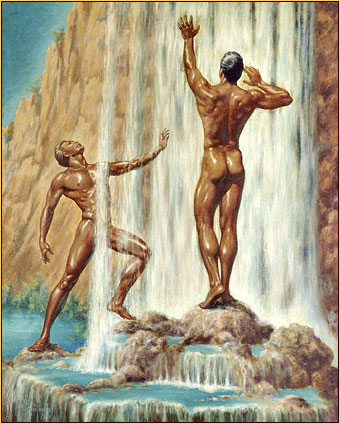 George Quaintance original oil painting depicting two male nudes at a waterfall