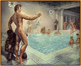 George Quaintance original oil painting depicting numerous male nudes bathing