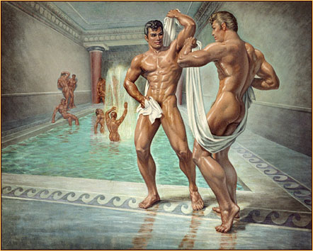 George Quaintance original oil painting depicting a group of male nudes bathing
