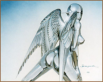 Hajime Sorajama original acrylic painting depicting a female nude metal angel