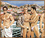 Kent original acrylic painting depicting four male seminudes