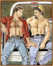 Kent original oil painting depicting two male seminudes