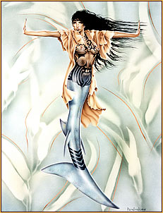 Pamelina H. original acrylic painting depicting a seminude mermaid