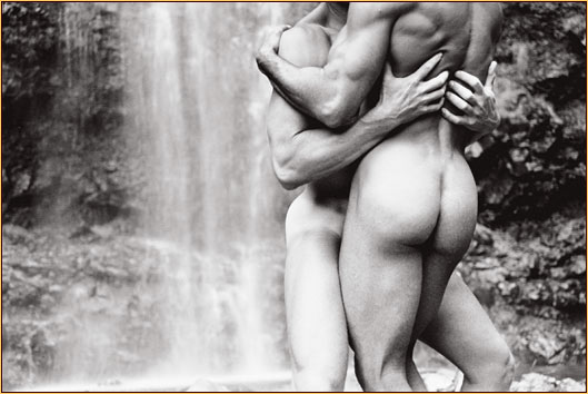 Tom Bianchi original gelatin silver print depicting two male nudes embracing in front of a waterfall