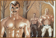 Tom of Finland original color fine art print depicting three male seminudes