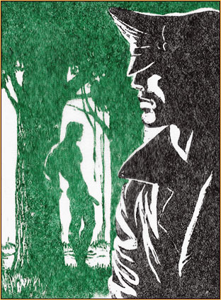 Tom of Finland original color linoleum block impression depicting a male figure in leather gear and a male nude