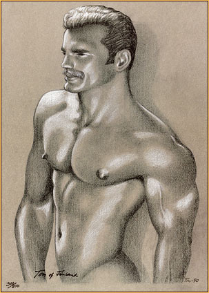 Tom of Finland original limited edition color lithograph depicting a male nude