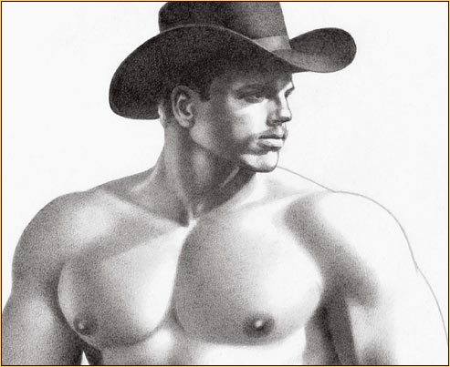 Tom of Finland original graphite on paper drawing depicting a seminude cowboy (Detail)