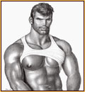 Tom of Finland original graphite on paper drawing depicting a male seminude in a tank top