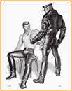 Tom of Finland original limited edition lithograph depicting a male figure in leather gear and a male seminude with a tattoo
