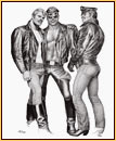 Tom of Finland original limited edition lithograph depicting three male figures in leather gear