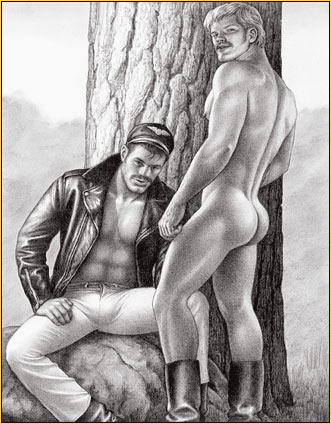 Tom of Finland original graphite on paper drawing depicting a male figure in leather gear and a male nude