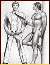 Tom of Finland original graphite on paper drawing depicting a male nude and a male figure in a suit