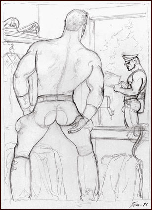 Tom of Finland original graphite on paper study drawing depicting a male seminude watching a male figure