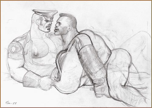 Tom of Finland original graphite on paper study drawing depicting a male nude and a male seminude embracing