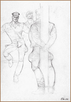 Tom of Finland original graphite on paper study drawing depicting a group of male figures