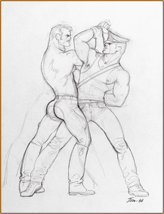 Tom of Finland original graphite on paper study drawing depicting a male seminude wrestling with a male figure
