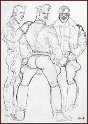 Tom of Finland original graphite on paper study drawing depicting three male figures in leather gear