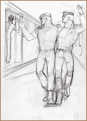 Tom of Finland original graphite on paper study drawing depicting three male figures